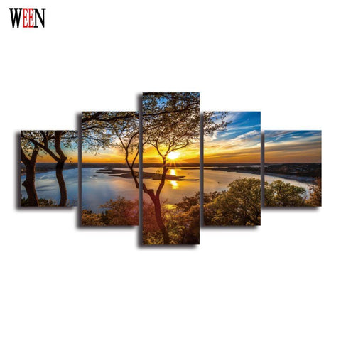 $110.13- Hd Landscape 5 Panel Wall Art Canvas Painting Printed Framed Pictures Home Decor Large Poster For Living Room Ready To Hang