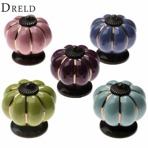 $3.78- Vintage Furniture Handle Pumpkin Ceramic Door Knobs Cabinet Knobs and Handles for Furniture Drawer Cupboard Kitchen Pull Handle