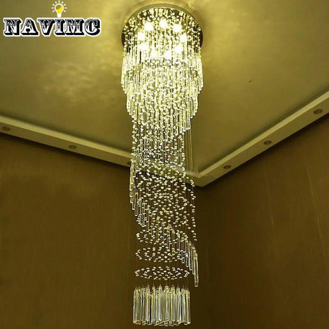 $370.01- Modern Large Crystal Chandelier Lighting For Hotel Hallway Stairwell Long Stair Light Led Hanging Ceiling Lmap Living Room Lamp