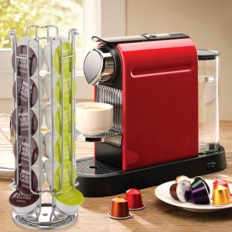 $45.95- 1 Pc Hot Iron Coffee Capsule Holder Racks Stand Display Kitchen Storage Shelf 24/32 Cups For Dolce Gusto