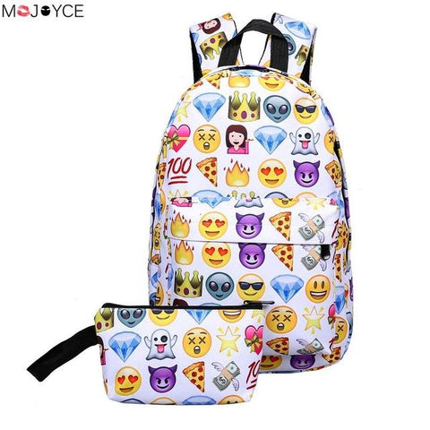 $18.62- High Quality Cool Kids Cute Smile Emoji Backpack Child Ransel School Mochila Backpacks Bookbag Printed Students Bag 2Pcs/Set