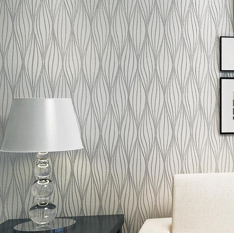 $35.86- Embossed Leaf Curve Modern Striped 3D Wallpaper Living Room Sofa Tv Wall Decor Grey Black White Gold Luxury Wall Paper Rolls