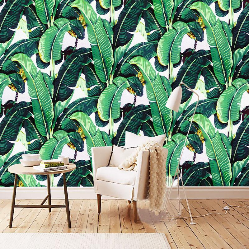 $19.29- Custom Wall Mural Wallpaper European Style Retro Hand Painted Rain Forest Plant Banana Leaf Pastoral Wall Painting Wallpaper 3D