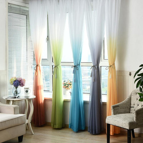 $13.40- Tulle Curtains 3D Printed Kitchen Decorations Window Treatments American Living Room Divider Sheer Voile Curtain Single Panel
