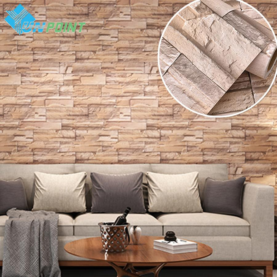 $26.30- 5M Modern Vinyl Self Adhesive Wallpaper Pvc Waterproof Stone Wallpapers Gray White Brick Wall Stickers For Bedroom Home Decor