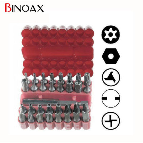 $9.48- Binoax Security Tamper Proof Bit Set 33Pc Torq Torx Hex Star Spanner Tri Wing Screwdriv Magnetic Holder