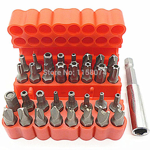 $16.02- 33Pc Security Bit Set Tamper Proof Electric Screwdriver Bit Set 60Mm Magnetic Holder Torx Star Hex Bit Spanner Screws W/ Case