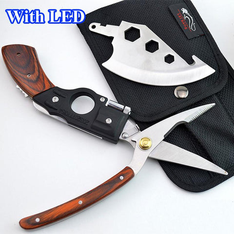 $71.98- W/ Led 5 In 1 Portable Multifunction Survival Hand Tools Axe Knife Saw Scissors Gun Shaped Wooden Handle Hunting Knife