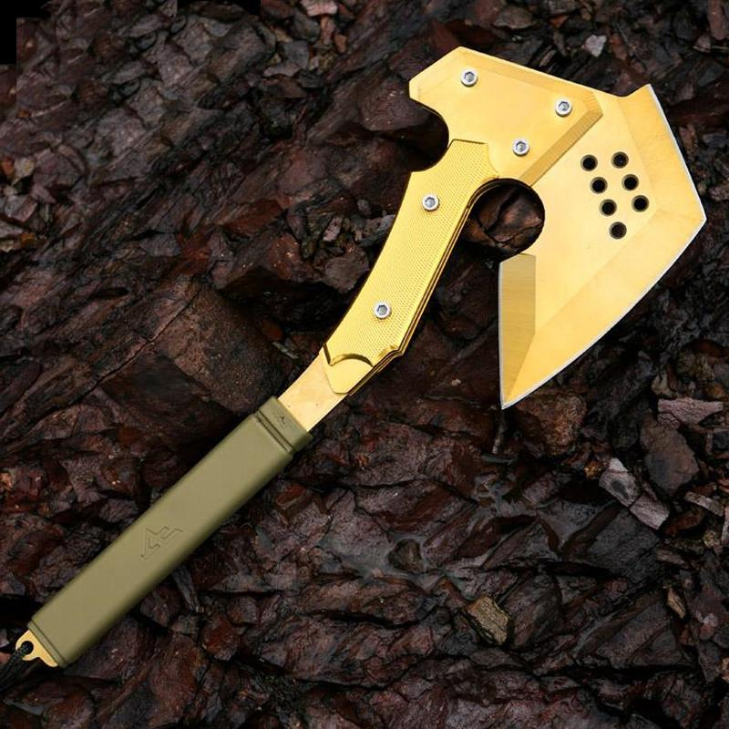 $77.38- Cf Gold Tomahawk Outdoor Camping Multifunction Axe Military Axe Car Emergency Survival Self Defense Hand Tools Ice Hatchet