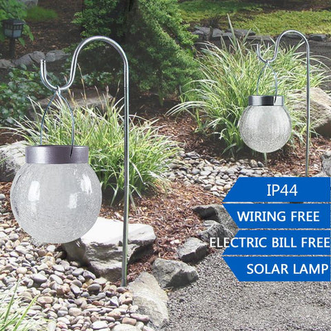 $169.46- 2Pcs/Lot Outdoor Led Solar Sun Garden Light Waterproof 2Led Rgb/White Hanging Glass Ball Lights For Garden Decoration Lawn Path Lamp