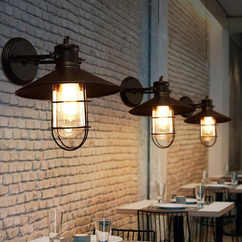 American Vintage Wall Lamps Bird Cage Industrial Wall Lights Fixture Country Warehouse Dining Room Restaurant Cafes Pub Lighting
