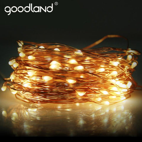 $12.27- Goodland Copper Wire Led String Light Wedding Decoration Outdoor Lighting Strings 10M Waterproof Fairy Lights For Christmas