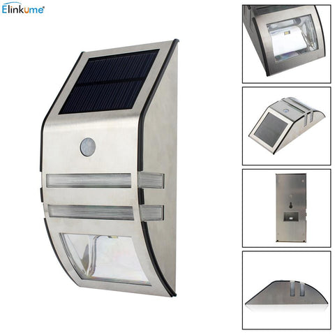 $25.11- Elinkume Waterproof 2 Led 120Lm Pir Solar Sun Motion Sensor Lamp Garden Yard Outdoor Wall Pathway Balcony Porch Fence Lights