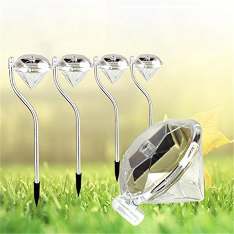 $28.40- 4Pcs/Lot Solar Sun Garden Lawn Spike Lamps Diamond Solar Sun Spike Spotlight Landscape Garden Pathway Light Outdoor Grounding Sun Light