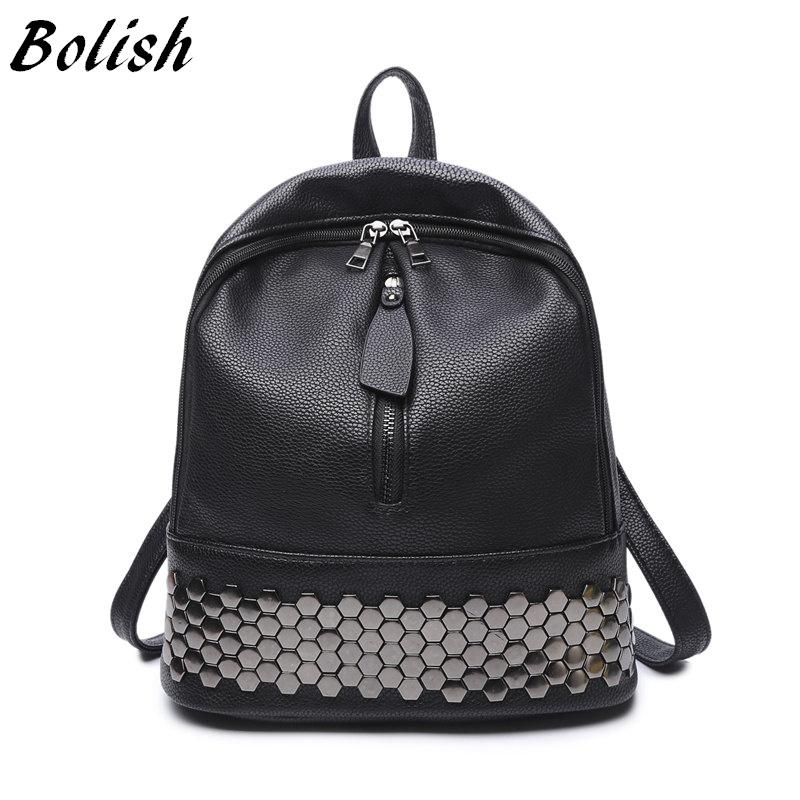$40.43- Bolish High Quality Pu Leather Women Backpack Preppy Style School Backpack Black Mater Rivet Women Bag