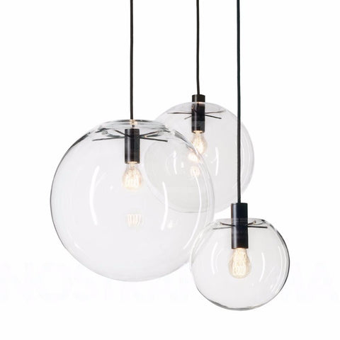Modern Nordic Lustre Globe Pendant Lights Fixture Home Deco Glass Ball Pendant Lamp Diy E27 Suspension Clear Glass Hanging Lamp