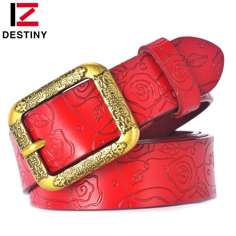 $15.26- Destiny Designer Belts Women High Quality Luxury Brand Ceinture Femme Casual Girls Lady Flower Belt Leather For Jeans Off White