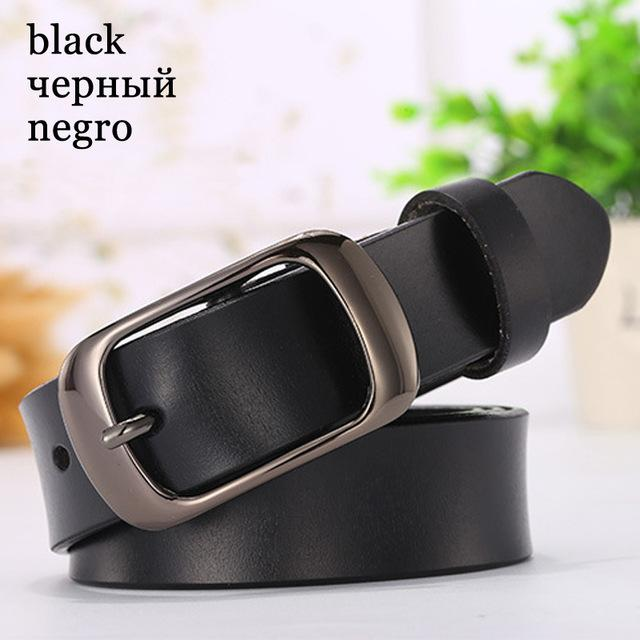 $17.01- Dinisiton Genuine Leather Women Belt Metal Pin Buckle Vintage Belts For Woman Jeans High Quality Luxury Female Strap Fashion