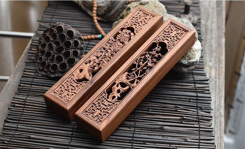 $88.78- Afric Yellow Acid Wood Hollow Wooden Incense Burner W/ Incense Gift Box Chrysanthemum Plum Buddhist Holder