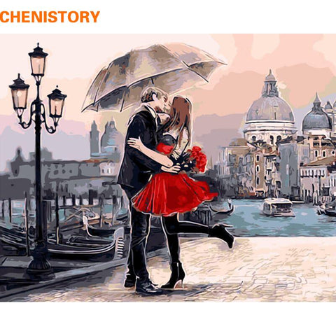 $15.60- Framed Romantic Kiss Lover Diy Painting By Numbers Landscape Acrylic Picture Wall Art Hand Painted Oil Painting For Home Decor