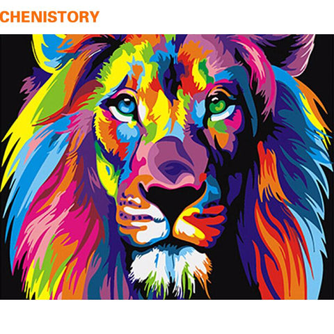 $12.06- Frameless Colorful Lion Animals Abstract Painting Diy Digital Paintng By Numbers Modern Wall Art Picture For Home Wall Artwork