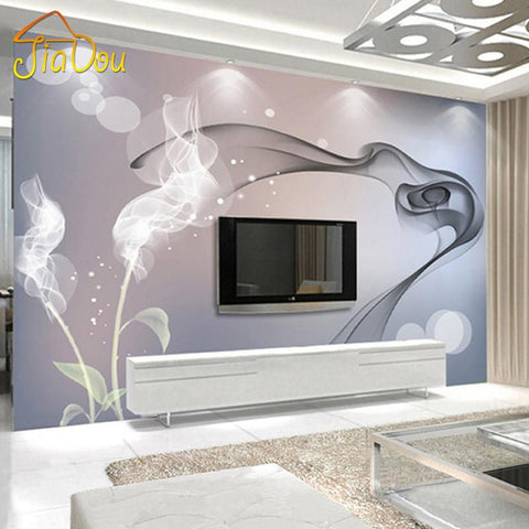 $19.38- Custom Mural Wallpaper Personalized NonWoven Wall Covering Abstract Modern Minimalist Black White Tv Backdrop Wallpaper