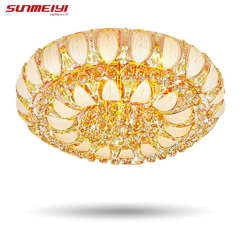 $230.62- Gold Round Crystal Ceiling Light For Living Room Indoor Lamp W/ Remote Controlled Luminaria Home Decoration