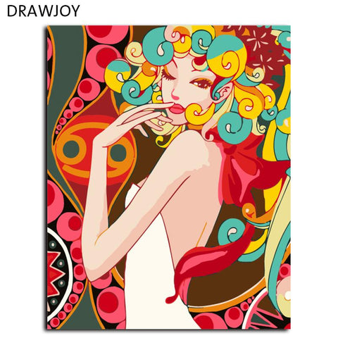 $15.11- Home Decor Frameless Picture Painting By Numbers Wall Art Diy Canvas Oil Painting For Living Room Figure Painting 40*50Cm G015