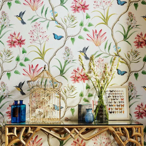 $73.80- American Style Rustic Wallpaper Roll Vintage Floral NonWoven 3D Butterfly Wall Paper Bedroom Wallpapers Birdswall Decals 3D