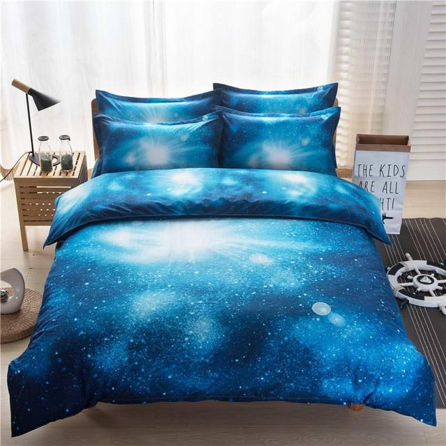 $62.30- 3D Galaxy Bedding Sets Twin/Queen Size Universe Outer Space Themed Bedspread Bed Linen Bed Sheets 3Pcs/4Pcs Duvet Cover Set
