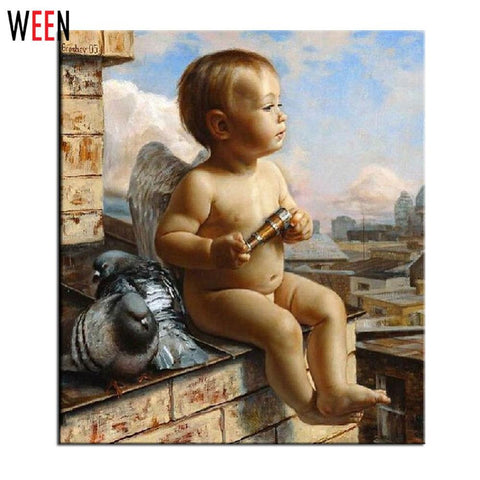 $16.82- WEEN Angel Painting By Number Wall Art DIY Drawing By Numbers Canvas Painting Unique Child Gift Home Decor New Poster