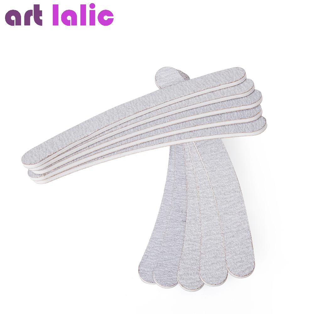 $4.20- 10 x Grey Nail Files Sanding 100/180 Curve Banana for Nail Art Tips Manicure Pedicure shipping