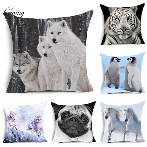 $3.78- Homing Pop 3D Animal Cushion Cover Dog Print Cushion Cover Lumbar Nordic Cushion Covers For Sofa Seats Cushion Cover Plain Color