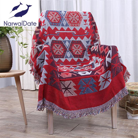 $43.01- Bohemian Flower Blanket Slipcover Throws On Sofa/Bed/Plane Travel Rectangular Color Stitching Blankets Tatami Mats