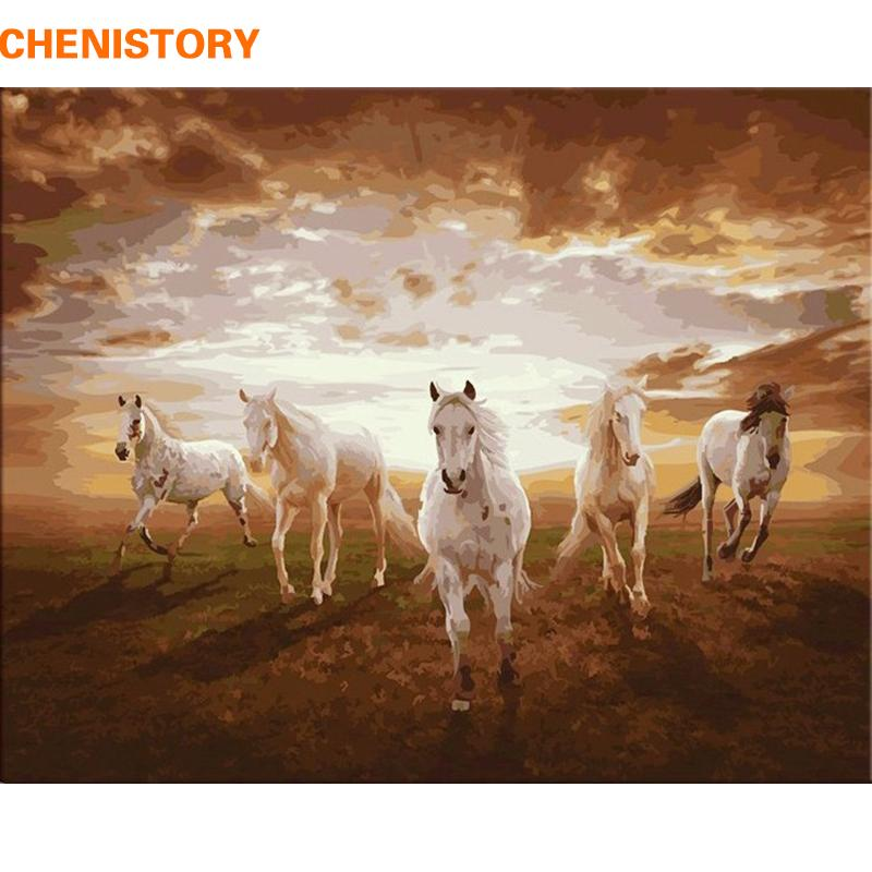 $17.40- Chenistory Running Horse Diy Painting By Numbers Paint On Canvas Kits Drawing Paint By Numbers For Living Room Home Wall Decor