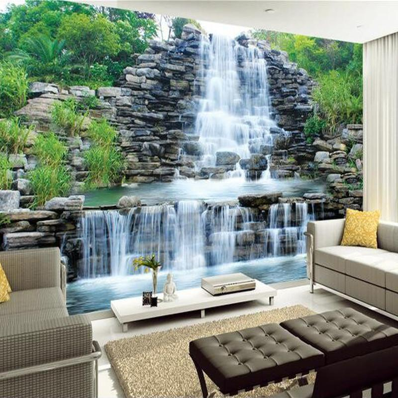 $19.80- Custom 3D Photo Wallpaper Natural Mural Waterfalls Pastoral Style 3D NonWoven Straw Paper Wall Papers Living Room Sofa Backdrop