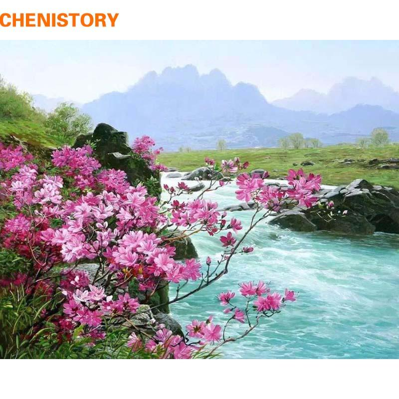 $14.72- Chenistory Romantic River Landscape Diy Painting By Numbers Kits Acrylic Paint On Canvas Handpainted Home Wall Decor Art Picture