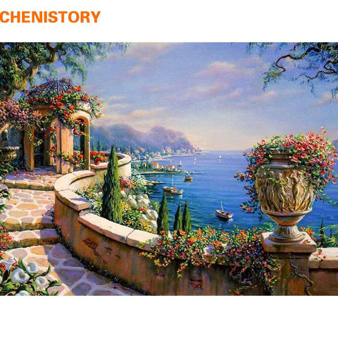 $20.17- Chenistory The Mediterranean Sea Diy Painging By Numbers Kit Coloring Picture Wall Art Canvas Painting Home Decor Artwork 40X50