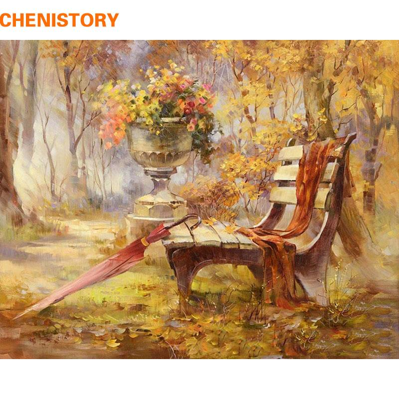 $15.41- Chenistory Autumn Garden Diy Painting By Numbers Kit Handpainted Oil Painting Acrylic Paint On Canvas Home Decor Wall Decoration