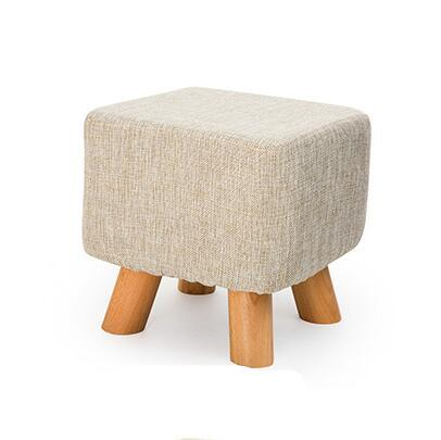 $162.69- Fashion Creative Modern Shoes Stool Stable 4 Legs Solid Wood Sitting Stool Soft Linen Fabric Sofa Stool