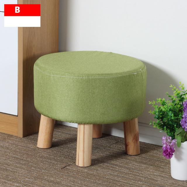 $149.67- Simple Modern Fashion Stool Wood Furniture Home Outdoor Stool Super Soft Lining Fabric Shoes Stool Living Room Footstool Chair