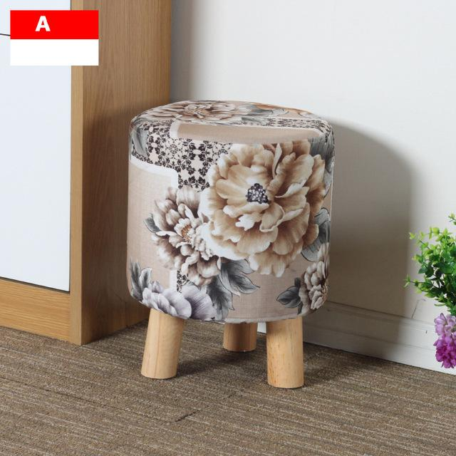 $158.25- Simple Modern Fashion Stool Wood Furniture Home Outdoor Stool Super Soft Lining Fabric Shoes Stool Living Room Footstool Chair
