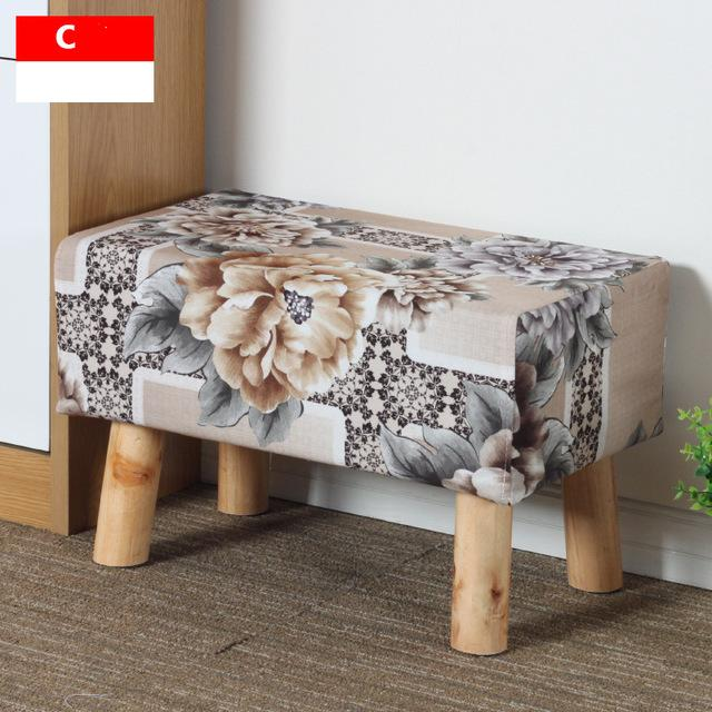 $165.78- Simple Modern Fashion Stool Wood Furniture Home Outdoor Stool Super Soft Lining Fabric Shoes Stool Living Room Footstool Chair