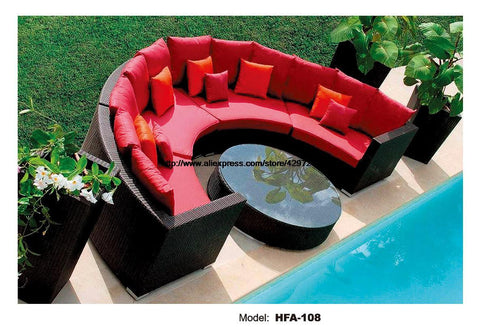 $2168.45- Half Round Wicker Sofa Set Garden Sofa W/ Coffee Table Health Pe Ratten Furniture Patio Outdoor Sofa Set Hfa108