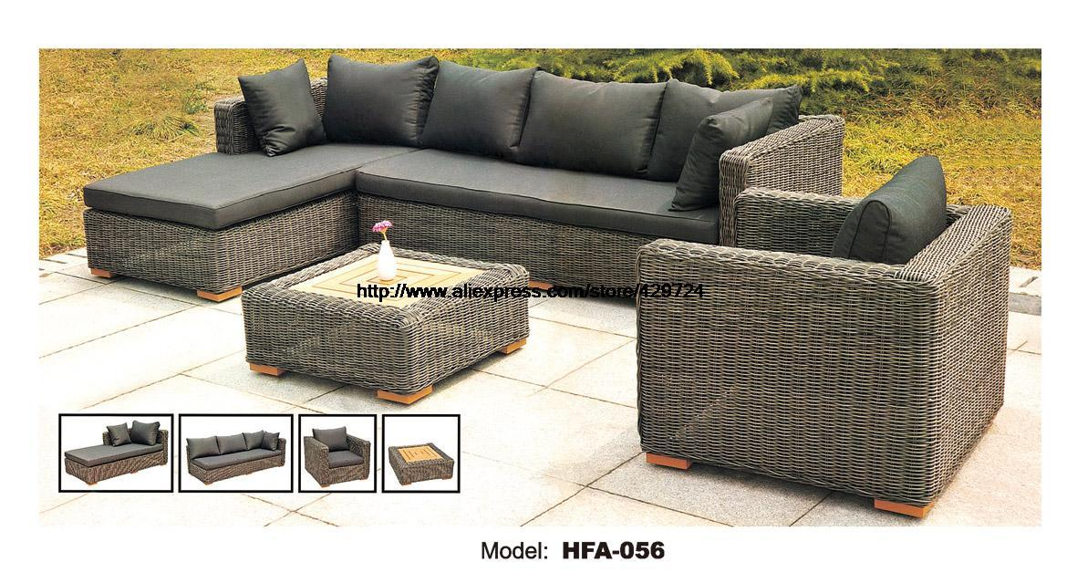 Beautiful $2168.45  Dark Gary Rattan Sofa Classic L Shaped Vine Sofa Chair Table  Furntiure Set Garden