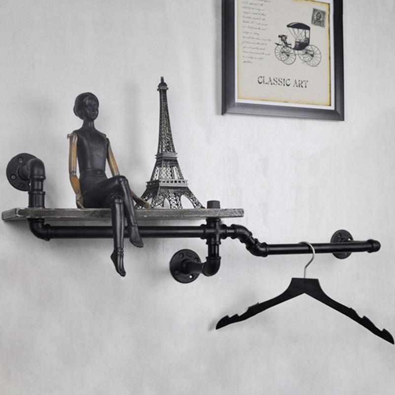 $112.12- 1Pc Industrial Pipe Wall Shelf Decorative Wall Hanging Metal & Wood Shelf Bookcase Perfect For Bathroom/Kitchen/ Living Room Z6