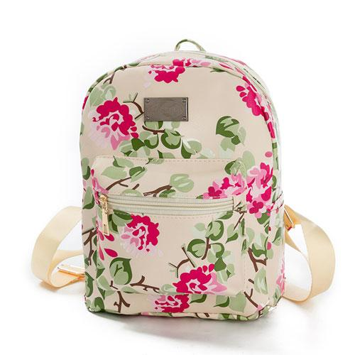 $17.34- New Printing Backpack School Bags For Teenagers Pu Leather Women Backpacks Girls Travel Bag High Quality N509