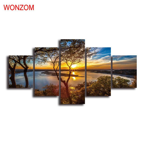 $28.82- Sunset Lake Tree Modern Wall Pictures For Living Room Canvas Painting Wall Art Poster Christmas Gift Cuadros Decoracion Vintage