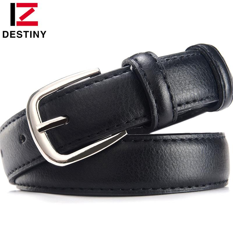 $11.72- Destiny Famous Designer Belts Women High Quality Luxury Brand Pu Leather Black Casual Lady Girls Woman Belt For Jeans Skirt