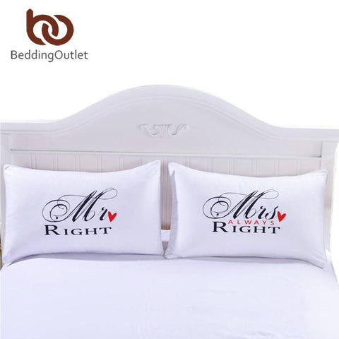 Beddingoutlet Mr Mrs Pillowcases Couple Pillow Shams For Him Or Her Christmas Romantic Anniversary Wedding Valentine'S Gift